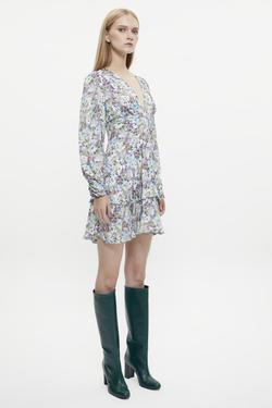 V Yaka Volanlı Uzun Kol Desenli Elbise
