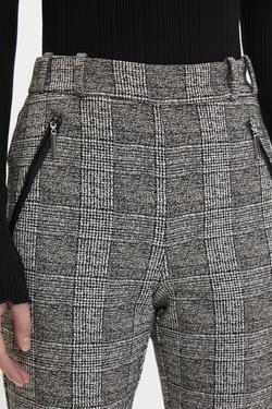 Deri Garnili Ekose Desen Pantolon