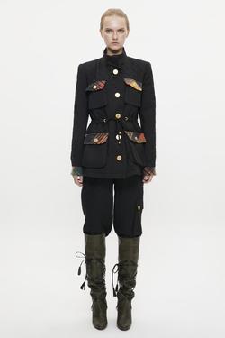 Hakim Yaka Metal Düğmeli Kapitone Ceket