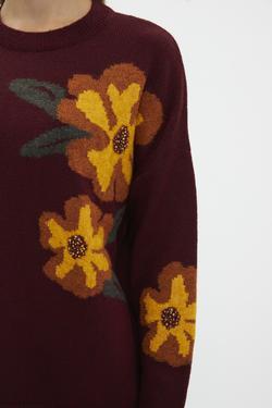 Çiçek Desenli El İşlemeli Triko Kazak