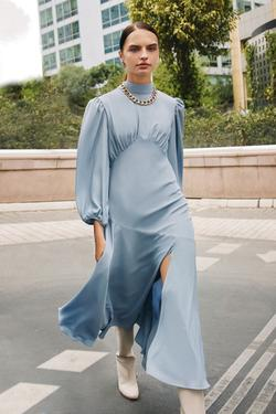 Büzgülü Midi Boy Krep Elbise